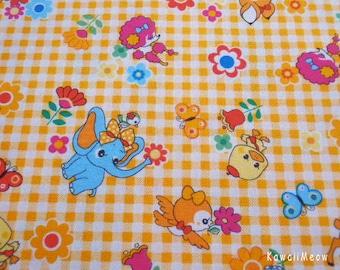 "Scrap /  Japanese Fabric - Cute Animals Flower on Yellow - 110cm/43""W x 60cm/23.6""L - (ko131110)"