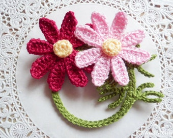 Kawaii Crochet Flower Corsage Brooch - Cosmos -