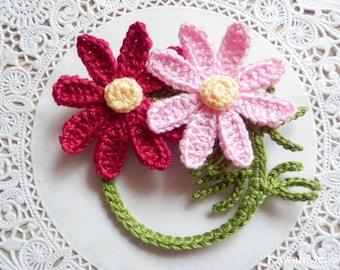 Kawaii Crochet Flower Corsage Brooch - Cosmos -