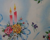 Vintage 1940s Birthday Gift Wrap Roses & Candles -1 Sheet Vintage Wrapping Paper