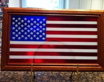 Fused glass american flag, patriotic military, retirement, gift, fused glass, Handmade, USA, military Veteran, patriotic
