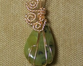 Olive Green and Black NEW JADE Gemstone Gold Wire Wrap Necklace Pendant