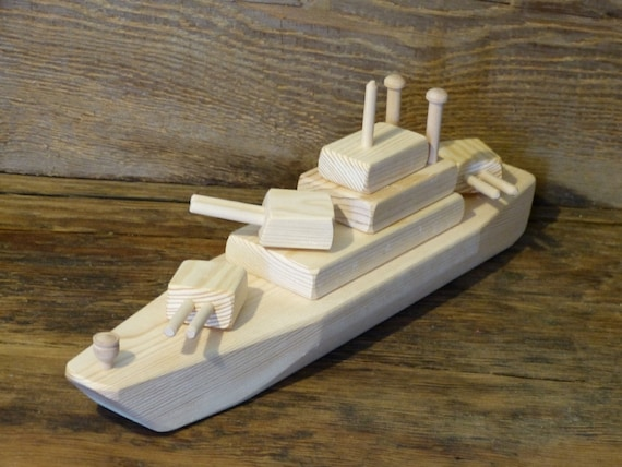 Wood Toy Battleship WW2 Wooden Toys ship Navy Handmade Eco