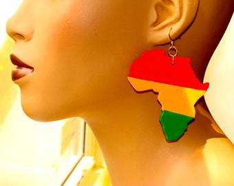 Africa Earrings in Red Yellow and Green