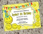 Smiley Party - Smily Face Party Invitations - Lots of Smiles - any age