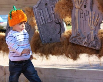 Baby Pumpkin Hat, Crochet Pumpkin Hat, Newborn Pumpkin Hat, Pumpkin Photo Prop, Kids' Pumpkin Hat, Pumpkin Baby Hat, (Ready to Ship)
