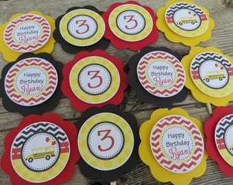 Bus Birthday Party Decorations, School Bus Birthday Cupcake Toppers, Birthday Party Decor, You Choose Colors & Sayings