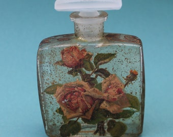 Decorative Decoupage Perfume Bottle with Ornate Stopper