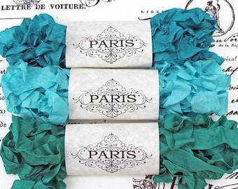 Seam Binding Ribbon, Scrunched, Shabby Crinkled Ribbon, Turquoise, Jade,French Vintage Shabby,Scrapbooking, Australia,Mediterranean Jewels