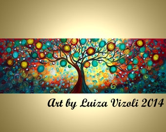 "Original 72"" Abstract HUGE Tree Landscape Whimsical Large Painting Inner Journey XXL Art by Luiza Vizoli"