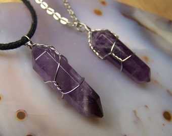 Amethyst crystal necklace pendant - Double Terminated stone point - wrap - purple Quartz stone - silver wire wrapped made to order earrings