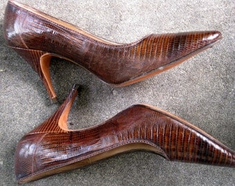1950s Lizard Pumps - Spike Heels - 6.5