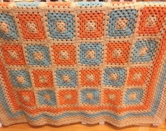 Coral and Turquoise Granny Square Afghan FREE SHIPPING