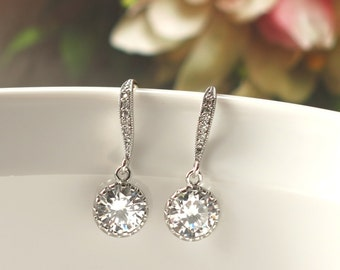 Clear Cubic Zirconia Bridal Earrings . For wedding jewelry, bridal jewelry, bridesmaid jewelry, bridesmaid gifts
