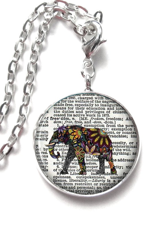 Flower Elephant Freedom Art Pendant Resin Pendant Photo Pendant   (0206)