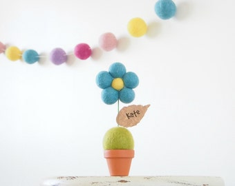 Nursery Art Decor, Needle Felted Flower, Turquoise Blue and Yellow, Children, Kid's Room