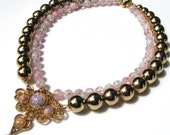 Pink vintage faux opal, gold tone and pink crackle glass beads, handmade, one of a kind