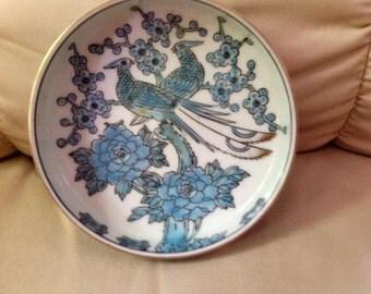 Vintage GOLDIMARI - Hand painted low bowl plate birds blue