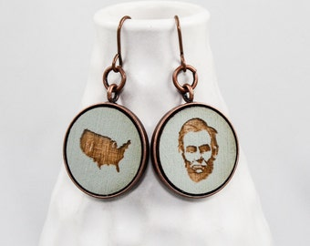 Abraham Lincoln Earrings (Wood) - US President / United States of America - Pale Blue