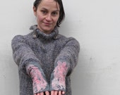 Felted fingerless gloves arm warmers Grey Pink
