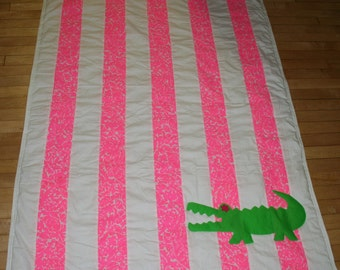 Ready to ship Alligator quilt made with Lilly Pulitzer Cosmo Pink Mini Party Favors fabric