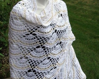 Crochet Lace Bridal Wedding Shawl, Vintage White and Champagne Beige, with a Scalloped Edge