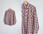SALE / vintage men's '70s brown & red classic WESTERN PLAID long sleeve button-up shirt. size m l.