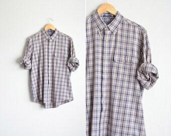 SALE / vintage men's '90s navy blue & TAN PLAID long sleeve button-up shirt. size l xl.