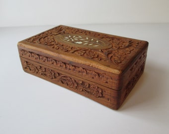 Carved Wood Treasure Trinket Box