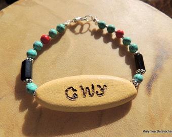 Tribal Bracelet, Cherokee Language, Native Style Jewelry, Turquoise Jewelry, Turquoise and Black, Handcrafted Jewelry, Gemstone Jewelry