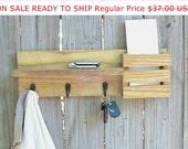 Rustic Entryway Organizer / Mail Organizer / 3 Hook Coat Rack