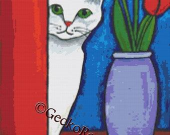 White Cat Cross Stitch Kit, Shelagh Duffett, counted Cross Stitch Kits, Kitten needlecraft set, DMC materials, Cross Stitch Pattern