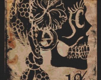 Modern Cross Stitch Kit, Shayne of the Dead 'Gypsy Thirteen' - Skull Needlecraft kit, 13,  Counted Cross Stitch Kit, Cross Stitch Pattern