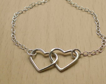 Two Hearts Silver Necklace