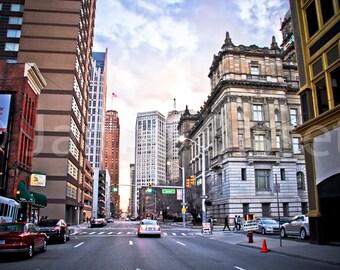 Congress St in Detroit  Fine Art Photograph on Metallic Paper