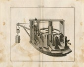 1806 Rare Antique Copper-engraved Print showing Gears and Pulley. Plate I