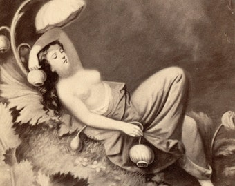 1860s - 1870s Antique CDV Photograph. Reclining Woman in Surreal Surroundings
