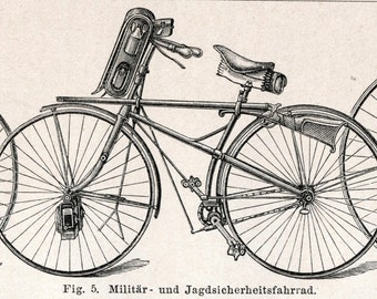 Antique Print of Bicycles - 1895 German Engraving