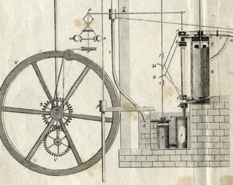 Antique Print on Hydraulics - 1806 Copper Engraving - Plate X - Gift for Him