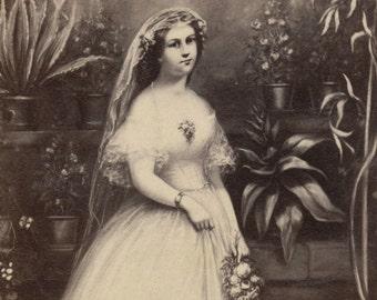 1860s - 1870s Antique CDV Photograph. The Bride