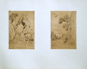 1859 Rare Poster Size / Large French Antique Engraving by Beaumont. A European Take On Japanese Art
