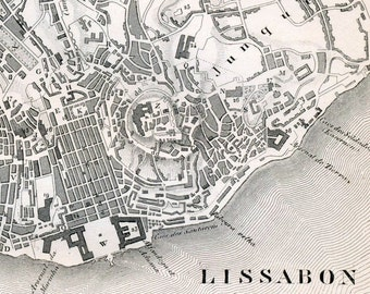 1851 German Vintage Map of Lisbon, Portugal, and Naples, Italy - Vintage City Map - Old City Map - Black and White