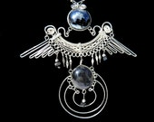 NECKLACE - Murano Glass w/Gemstones Handcrafted Twisted Silver Wire Wrapped - Phoenix