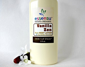 Vanilla Zen Silky Rich Natural Luxury Botanical Body Lotion , Soy Butter Enriched | Vegan | No Parabens , Mineral Oil or Phthalates - 6 oz