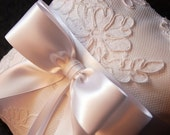 Ring Bearer Pillow - White Ring Pillow with Lace Overlay and White Ribbon Bow - Keira