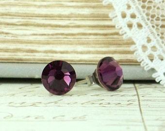 Amethyst Purple Crystal Studs February Birthstone Purple Stud Earrings Crystal Stud Earrings Hypoallergenic