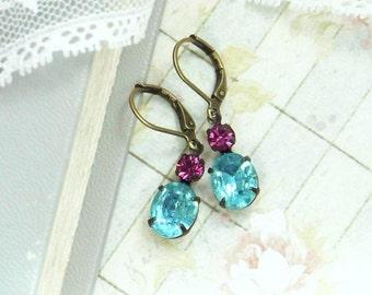 Pink And Blue Estate Style Earrings Rhinestone Dangle Earrings Victorian Earrings Vintage Glass Earrings