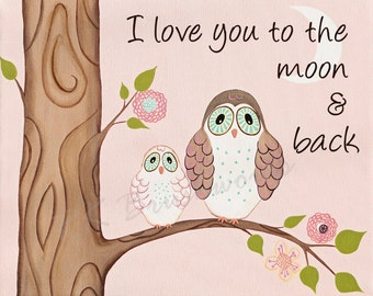 Girls Nursery Art - Nursery Room Art - Baby Nursery Decor - Kids Room Art. - Cotton Candy Owls - I love you to the moon and back 11x14 print