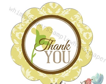 "Thank You Stickers, Yellow Damask Flower ""Thank You""  Labels - 1.75 Inch Scalloped Circle stickers - Set of 50"