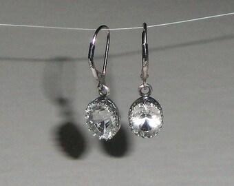 Diamond Quartz Concave Cut Gallery Bezel Silver Earrings